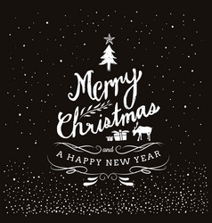 typography merry christmas and happy new year vector image