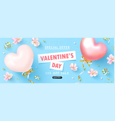 Valentine s day sale backgroundbeautiful blue vector