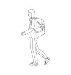 walking girl tourist with backpack vector image