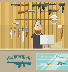 weapon banner with men choosing gun and shooting vector image