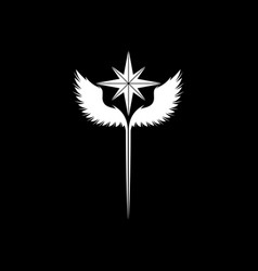 wings windrose white symbol vector image