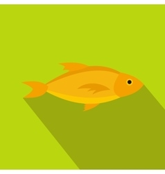 Yellow fish icon in flat style vector image