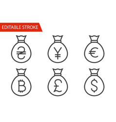 bags with money thin line icons set vector image vector image