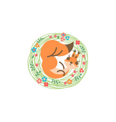 Cartoon cute squirrel little funny print vector