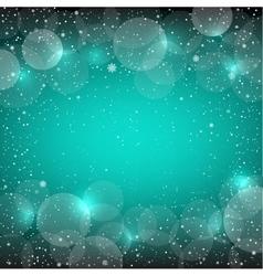 Christmas azure snow bokeh backdrop vector image