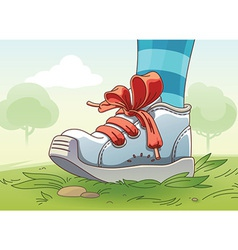 Small Sneaker on the Grass vector image
