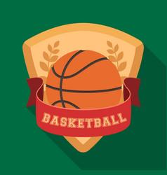basketball emblembasketball single icon in flat vector image