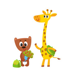 cute animal student characters bear holding vector image
