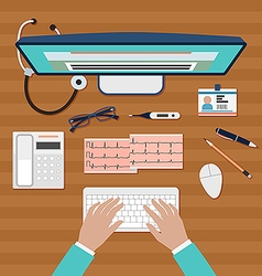 Doctor working on computer vector image vector image