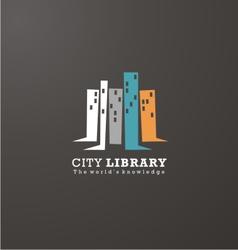 Logo design idea for library or book store vector image