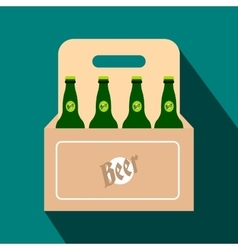Packaging with beer flat icon vector image vector image