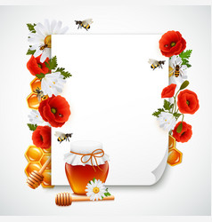 paper and honey composition vector image vector image
