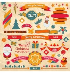 Christmas retro elements vector image vector image