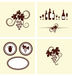 Grape vines elements set vector