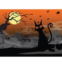 halloween cat background vector image