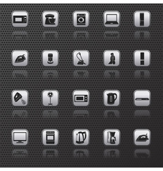 Home appliances and electronics icons buttons vector image vector image