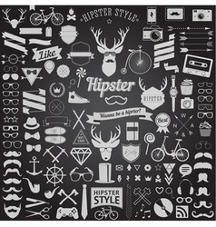 set of vintage hipster icons vector image vector image