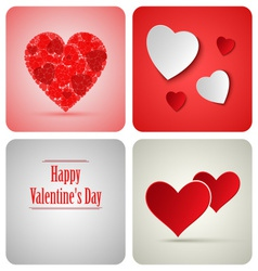 Valentine decoration card made from white paper vector image vector image