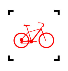 bicycle bike sign red icon inside black vector image