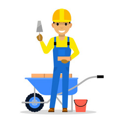 cartoon man bricklayer stands with a brick vector image vector image
