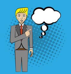 Comic man pop art business speech vector