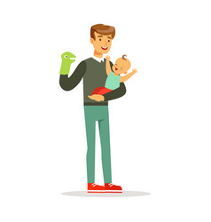 father and his adorable baby having fun with vector image vector image