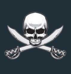 pirates jawless skull and swords vector image vector image