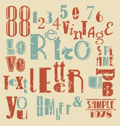 various retro letters and numbers vector image vector image