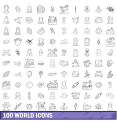 100 world icons set outline style vector image