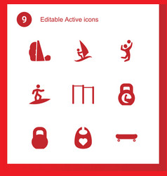9 active icons vector