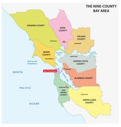 Administrative san francisco bay area map vector