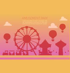 amusement park silhoettes on gradient background vector image