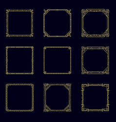 art deco horizontal gold frames and borders set vector image
