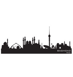 baghdad iraq city skyline silhouette vector image