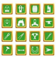 Blacksmith icons set green vector