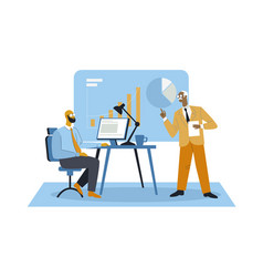 boss briefing about work concept vector image