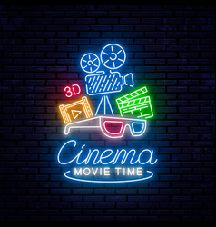 Bright neon sign for the cinema vector