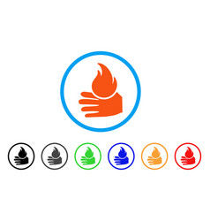 Burn hand rounded icon vector