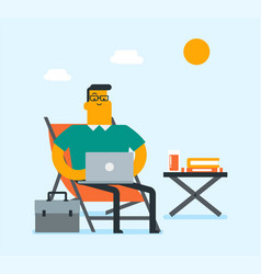 business man working on a laptop on the beach vector image