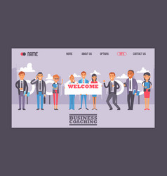 business people holding sign with text welcome vector image