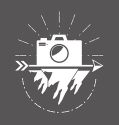 Camera wanderlust badge vector