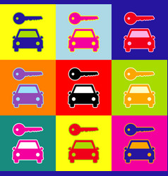 car key simplistic sign pop-art style vector image