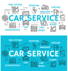 Car service and auto repair line icons vector