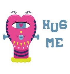 Cartoon flat greeting card with a funny alien hug vector