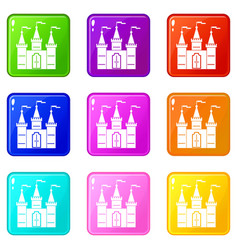 Castle icons 9 set vector