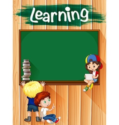 Children and blackboard on the wall vector image