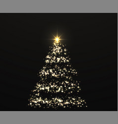 christmas shiny golden tree with glowing lights vector image
