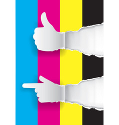 Color printing promotion background with thumbs-up vector
