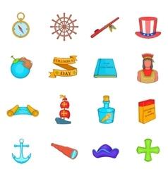 Columbus Day icons set cartoon style vector image
