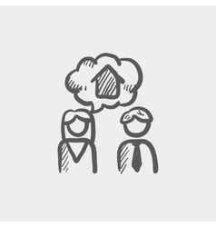 Couple consider to buy a house sketch icon vector image